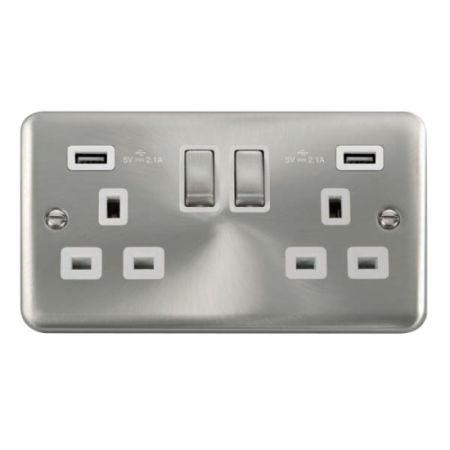 Click Deco Plus Satin Chrome 13a Socket With 2 x 2.1A USB White Insert | DPSC580WH