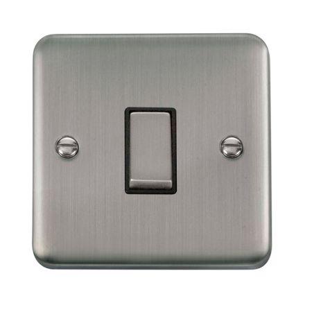 Click Deco Plus Satinless Steel 1 Gang Light Switch Black Insert DPSS411BK