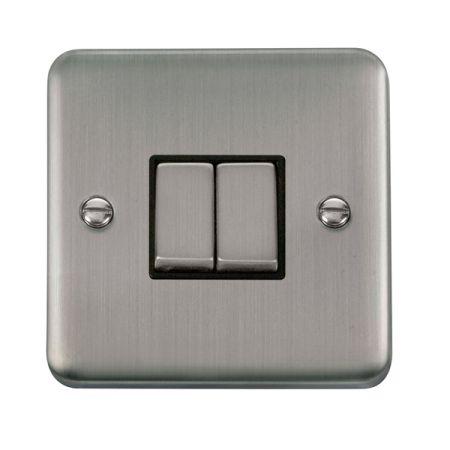 Click Deco Plus Satinless Steel 2 Gang Light Switch Black Insert DPSS412BK