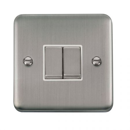 Click Deco Plus Satinless Steel 2 Gang Light Switch White Insert DPSS412WH
