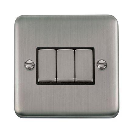 Click Deco Plus Satinless Steel 3 Gang Light Switch Black Insert DPSS413BK