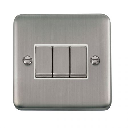 Click Deco Plus Satinless Steel 3 Gang Light Switch White Insert DPSS413WH
