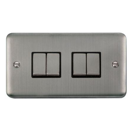 Click Deco Plus Satinless Steel 4 Gang Light Switch Black Insert DPSS414BK