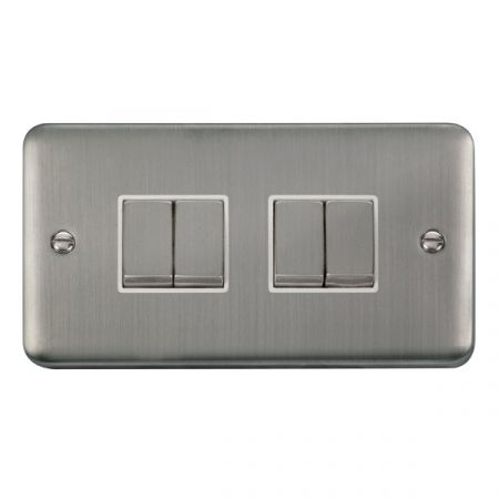 Click Deco Plus Satinless Steel 4 Gang Light Switch White Insert DPSS414WH