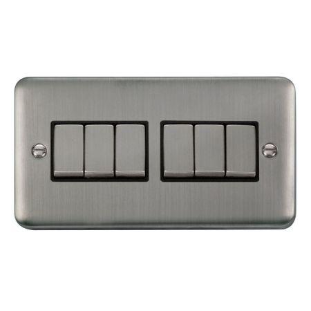 Click Deco Plus Satinless Steel 6 Gang Light Switch Black Insert DPSS416BK