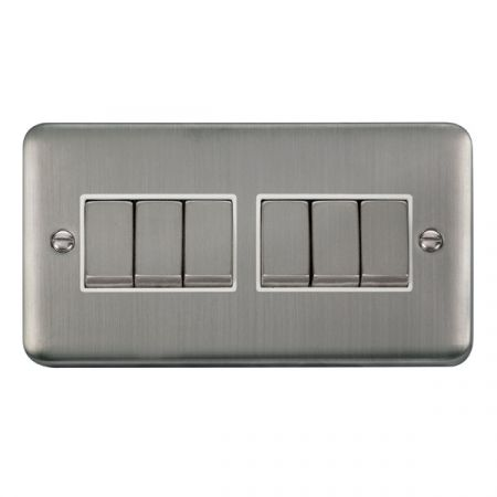 Click Deco Plus Satinless Steel 6 Gang Light Switch White Insert DPSS416WH