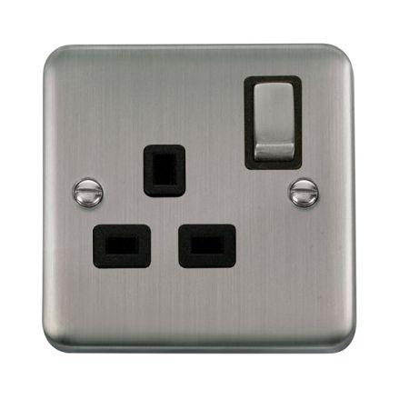 Click Deco Plus Stainless Steel 13A Single Socket Black Insert DPSS535BK