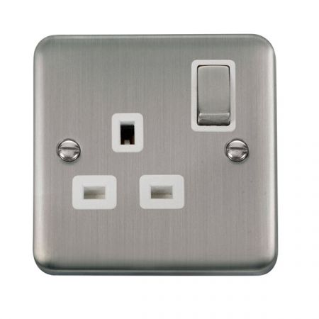 Click Deco Plus Stainless Steel 13A Single Socket White Insert DPSS535WH