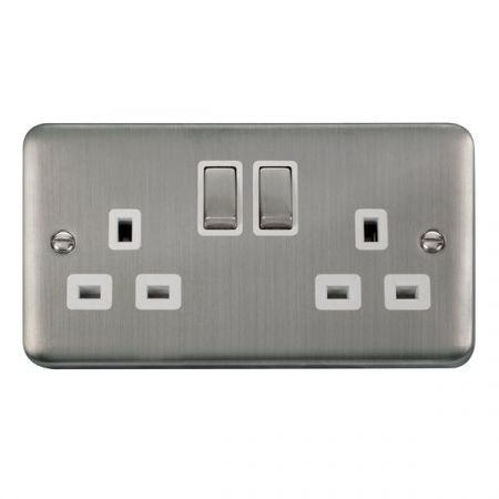 Click Deco Plus Stainless Steel 13A Double Socket White Insert DPSS536WH