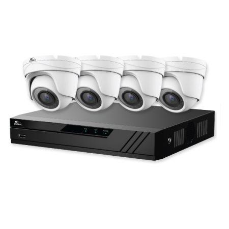 Qvis Eagle IP 4K CCTV Kit 8 CH 1TB NVR 4x 8MP Turret White Cameras | EAG-NVR-8-4TUR-8MP-1TB