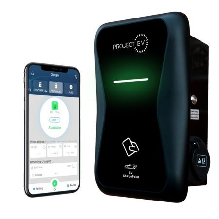 Project EV Pro Earth 7.3kw 32A Electric Car Charger & RFID Matt Black | Alert Electrical