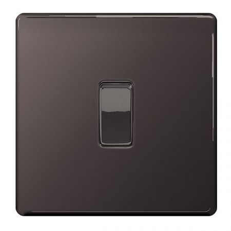 BG Nexus Flatplate Screwless Black Nickel Single 1 Gang 2 Way Light Switch | FBN12