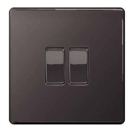 BG Nexus Flatplate Screwless Black Nickel Single 2 Gang 2 Way Light Switch   FBN42