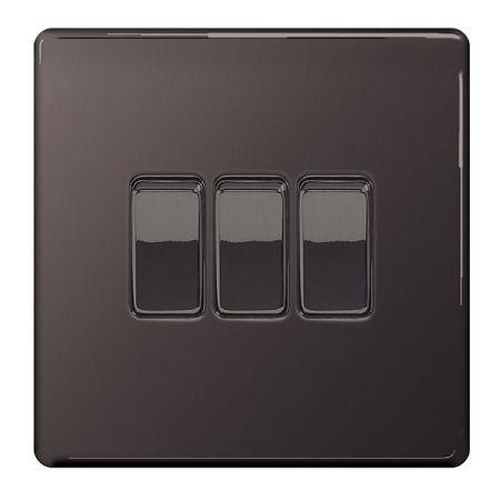 BG Nexus Flatplate Screwless Black Nickel Single 3 Gang 2 Way Light Switch | FBN43