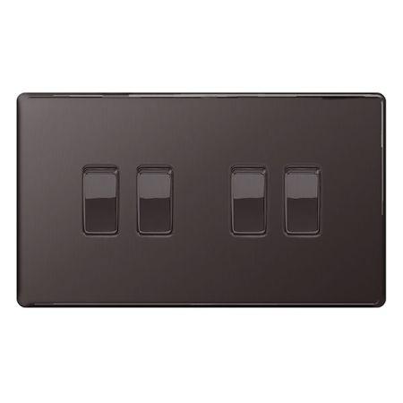BG Nexus Flatplate Screwless Black Nickel 4 Gang 2 Way Light Switch | FBN44
