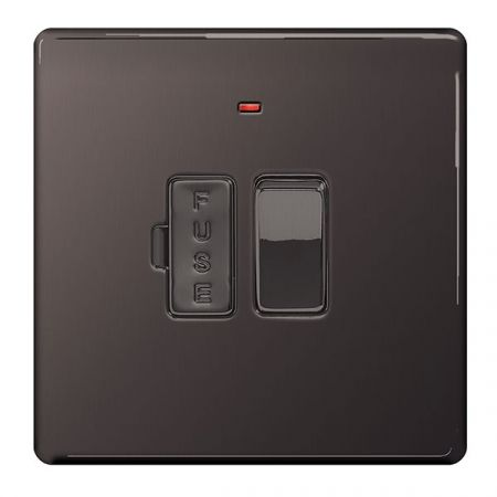 BG Nexus Flatplate Screwless Black Nickel Switched 13A Fused Connection Unit & Neon | FBN52