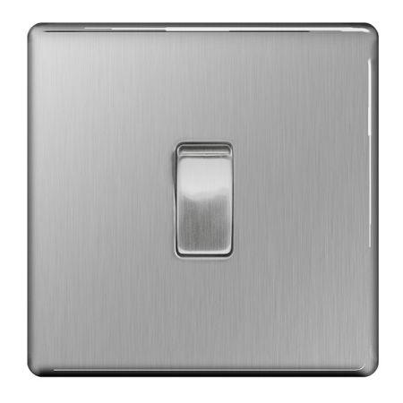 BG Nexus Flatplate Screwless Brushed Steel 10AX Intermediate Light Switch | FBS13