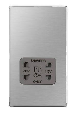 BG Nexus Screwless Brushed Steel 115/230V Dual Voltage Shaver Socket Grey Insert   FBS20G