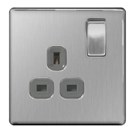 BG Nexus Flatplate Screwless Brushed Steel 13A 1G DP Switched Plug Socket Grey Insert | FBS21G