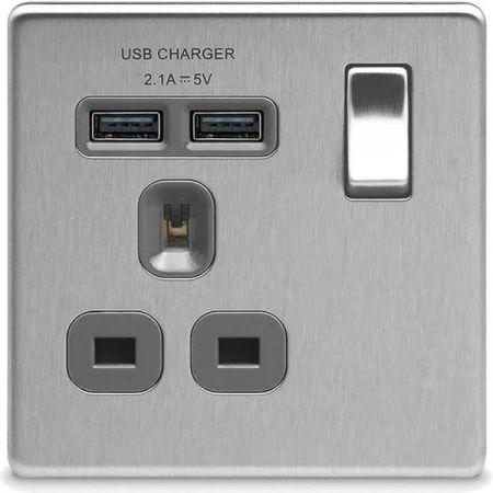 BG Nexus Flatplate Screwless Brushed Steel 13A 1G Plug Socket + 2 USB (2.1A) Grey Insert | FBS21U2G