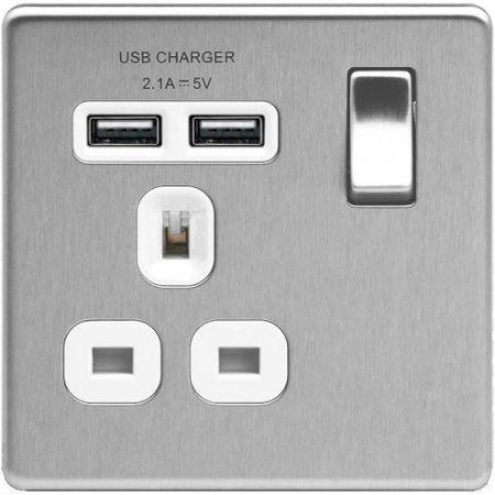 BG Nexus Flatplate Screwless Brushed Steel 13A 1G Plug Socket + 2 USB (2.1A) White Insert | FBS21U2W
