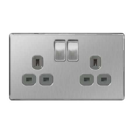 BG Nexus Flatplate Screwless Brushed Steel 13A 2G DP Switched Plug Socket Grey Insert | FBS22G