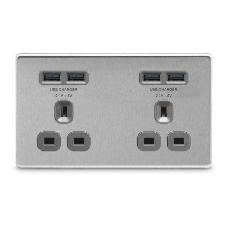 BG Nexus Screwless Brushed Steel 13A 4 x USB Double Socket Grey Insert   FBS24U44G