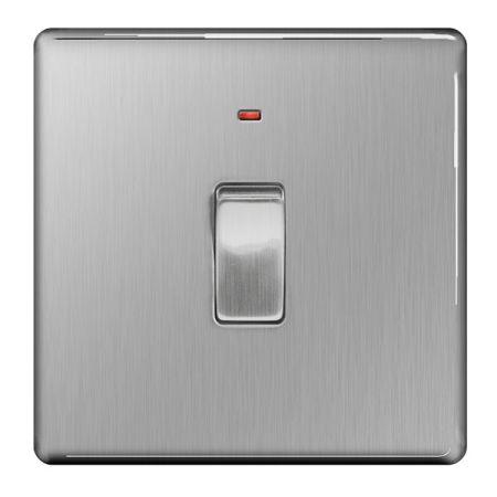 BG Nexus Flatplate Screwless Brushed Steel 20a DP Switch & Power Indicator | FBS31