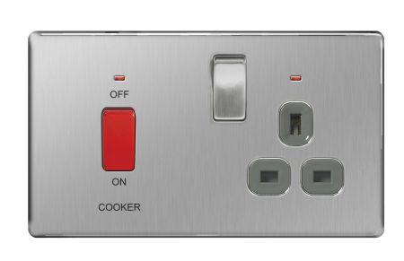 BG Nexus Screwless Brushed Steel 45A Cooker Switch & 13A Plug Socket Grey Insert   FBS70G