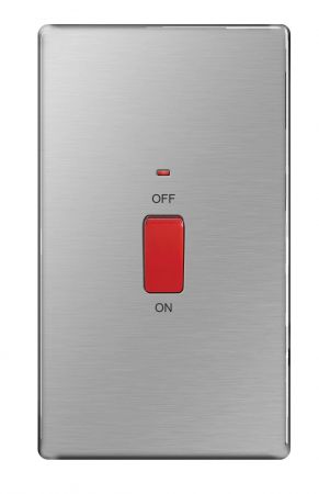 BG Nexus Screwless Brushed Steel 45A Vertical Cooker Switch with Neon   FBS72