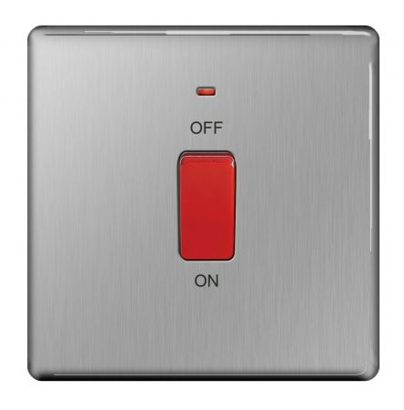 BG Nexus Screwless Brushed Steel 45A Single Cooker Switch with Power Indicator   FBS74