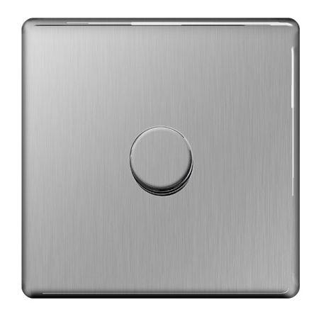 BG Nexus Flatplate Screwless Brushed Steel 1G 2W 400W Dimmer Switch | FBS81P