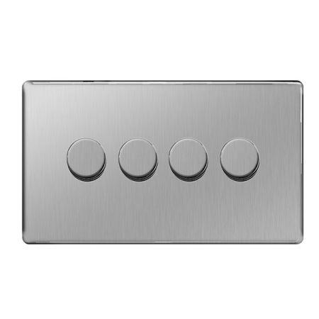 BG Nexus Flatplate Screwless Brushed Steel 4G 2W 400W Dimmer Switch   FBS84P