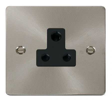 Click Deco Brushed Steel 5A Round Pin Single Socket Black Insert FPBS038BK
