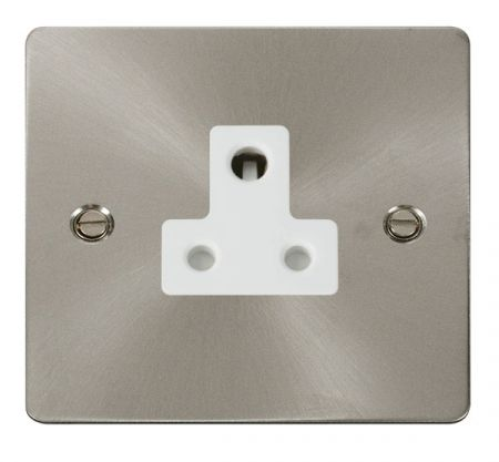 Click Deco Brushed Steel 5A Round Pin Single Socket White Insert FPBS038WH