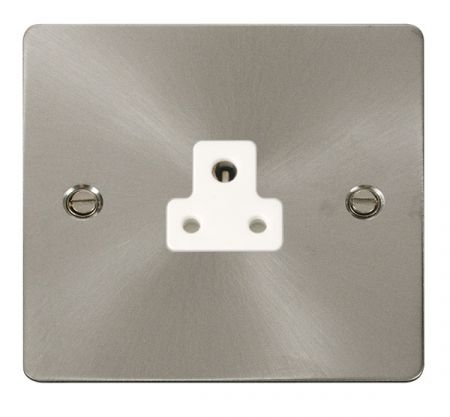 Click Define Brushed Steel 2A Round Pin Single Socket White Insert FPBS039WH