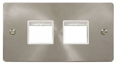 Click Define (2+2) Aperture Satin Chrome Unfurnished Plate White Insert FPBS404WH