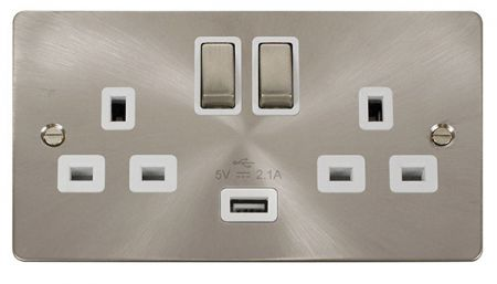 Click Define Ingot Brushed Steel 13a Double Socket With USB White Insert FPBS570WH