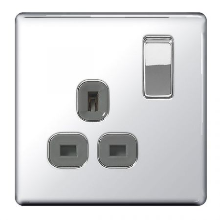 BG Nexus Flatplate Screwless Polished Chrome 13A 1G DP Switched Plug Socket Grey Insert   FPC21G