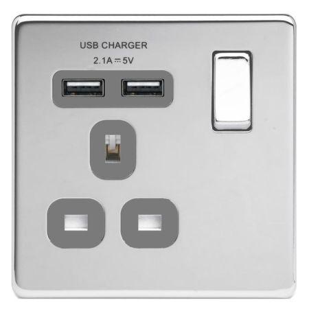 BG Nexus Flatplate Screwless Polished Chrome 13A 1G Plug Socket + 2 USB (2.1A) Grey Insert   FPC21U2G
