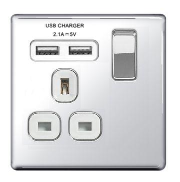 BG Nexus Flatplate Screwless Polished Chrome 13A 1G Plug Socket + 2 USB (2.1A) White Insert   FPC21U2W