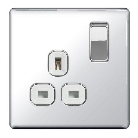 BG Nexus Flatplate Screwless Polished Chrome 13A 1G DP Switched Plug Socket White Insert   FPC21W