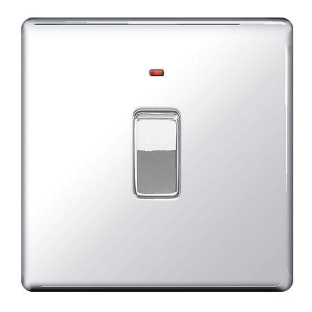 BG Nexus Flatplate Screwless Polished Chrome 20a DP Switch & Power Indicator   FPC31