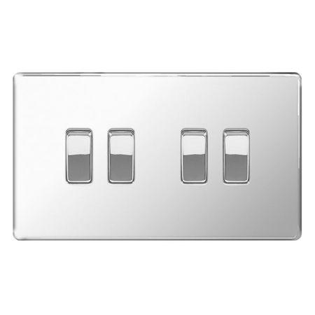 BG Nexus Flatplate Screwless Polished Chrome 4 Gang 2 Way Light Switch   FPC44