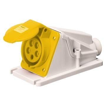 Gewiss Yellow IP44 110v 16A 2P&E 90° Angeled Socket GW62474