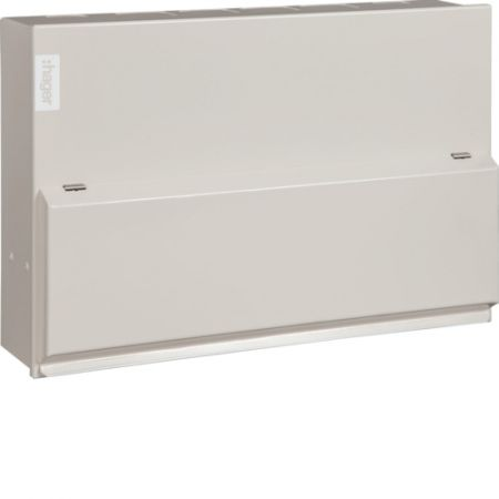 Hager Design 10 Metal 10 Way Consumer Unit & 100A Switch Incomer VML110