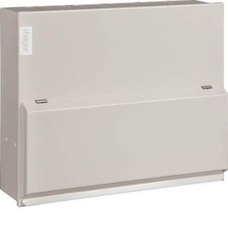 Hager Design 10 Metal 6 Way Consumer Unit & 100A Switch Incomer VML106