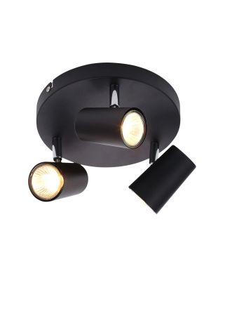 Inlight Harvey 3 Light GU10 Spotlight Plate Black | INL-31776-BLK