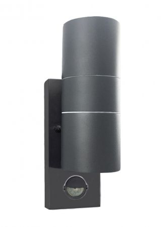 Hispec Up and Down Wall Light with PIR Sensor Anthracite Grey Finish HSLEDUL/PIR/GRY