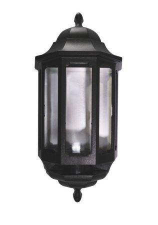 ASD Lighting HLBK060C Black Polycarbonate 60w Photocell Half Wall Lantern